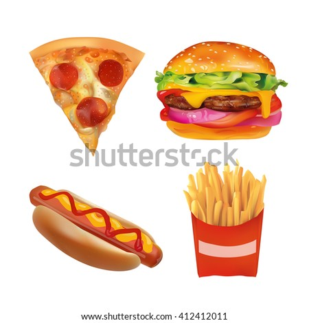 Realistic fast Food Set. Burger, Pizza Slice, Beverage, Coffee, French Fries, Hot Dog,  Ketchup, Mustard. Isolated On White background icons