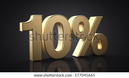 10%.  Realistic gold percent isolated - stock photo