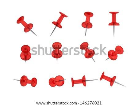 12 Realistic Thumbtacks - RED Set - stock photo