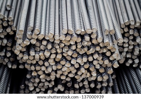 Rebars for concrete reinforcement, construction work. - stock photo