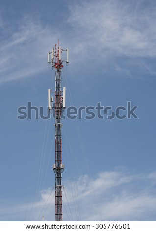 Received telephone pole with blue sky