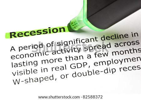 'Recession' highlighted in green with felt tip pen - stock photo