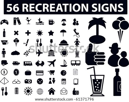 56 recreation signs. raster version