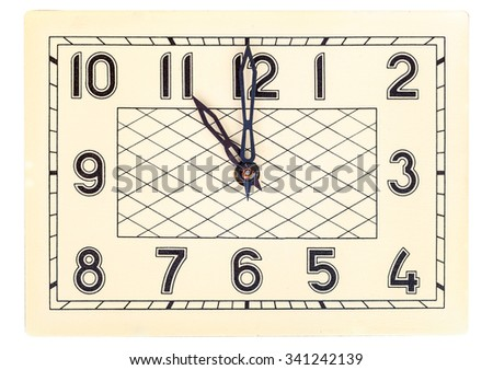 Rectangular art deco design clock face showing eleven o'clock isolated over white - stock photo