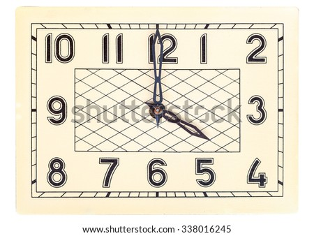 Rectangular art deco design clock face showing four o'clock isolated over white - stock photo
