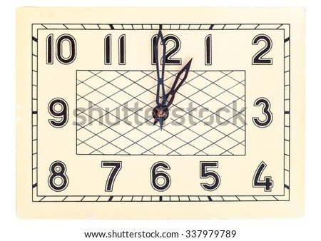 Rectangular art deco design clock face showing one o'clock isolated over white - stock photo