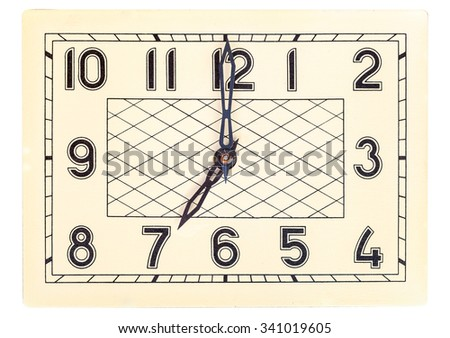 Rectangular art deco design clock face showing seven o'clock isolated over white - stock photo