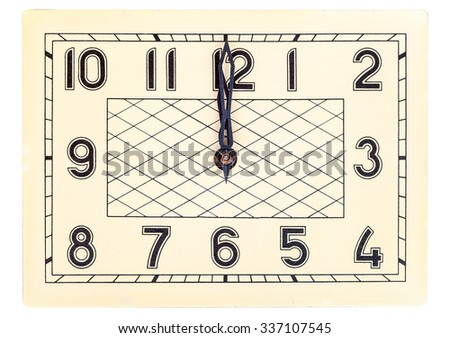 Rectangular art deco design clock face showing twelve o'clock isolated over white - stock photo