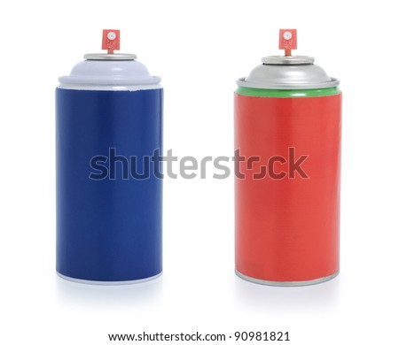 red and blue spray paint isolated on white background - stock photo