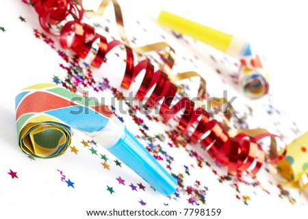 red and golden spirals, small confetti stars and colorful blowers on white background, party time