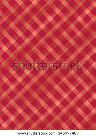 Red and grey diagonal plaid fabric swatch textile background. - stock photo