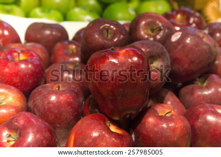 Red apples, selective focus