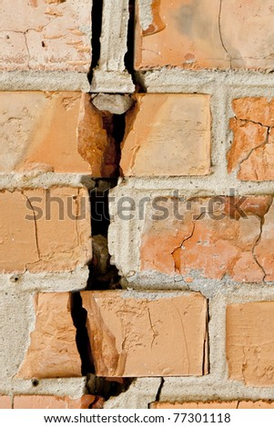 red broken wall at earthquake - stock photo