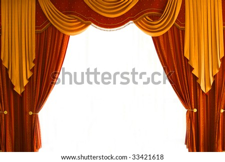 Red-Brown and golden-yellow coloured curtains over white - stock photo