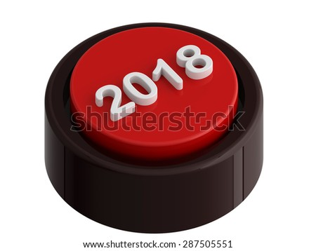 2018 red button, isolated over white, 3d render