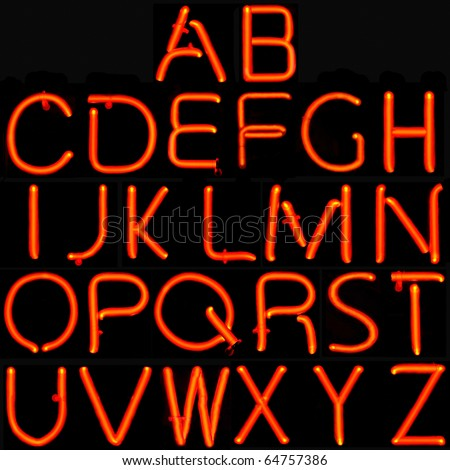 26 red capital letters of the Latin alphabet. - stock photo