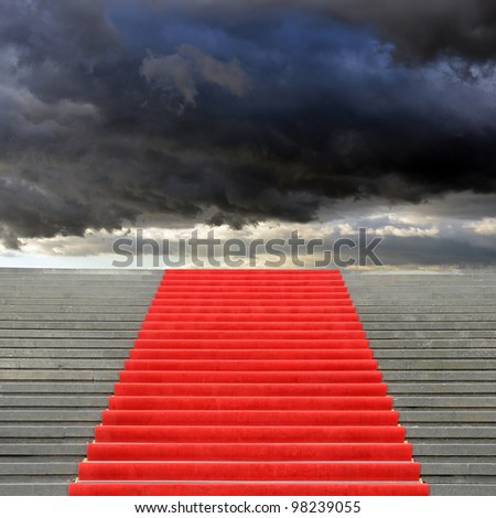 Red carpet stairway leading to heaven - stock photo