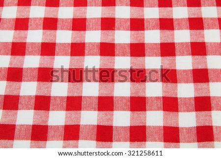Red checkered tablecloth.