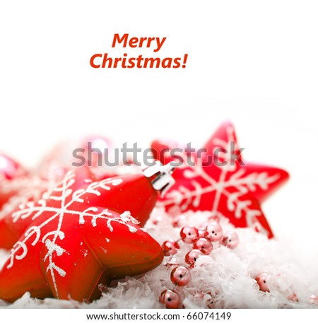 Red christmas decoration baubles on white with space for text. (shallow DoF) - stock photo