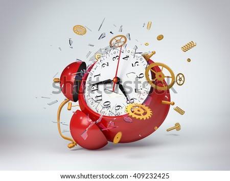 Red clock broken. 3d model - stock photo