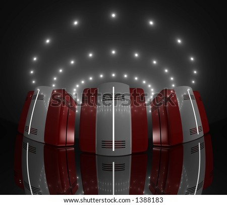 3 red computer-like rendered objects on a slightly reflective floor, lit by circles of glowing lights - stock photo