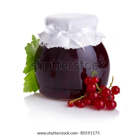 Red currant jam isolated on white background - stock photo