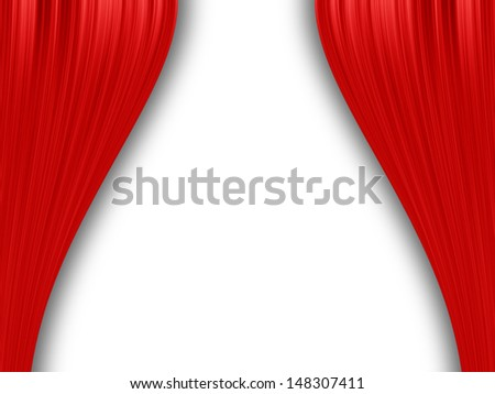Red curtain isolated on white - stock photo