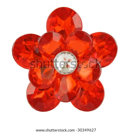 red diamond flower on a white background - stock photo