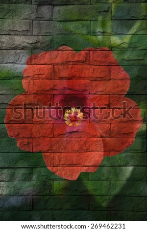 """""""red flower"""" Mural. The brick painting concept - stock photo"""
