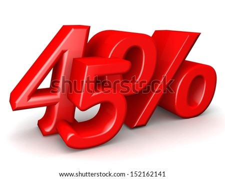 Red forty five percent. Discount 45%. 3D illustration.
