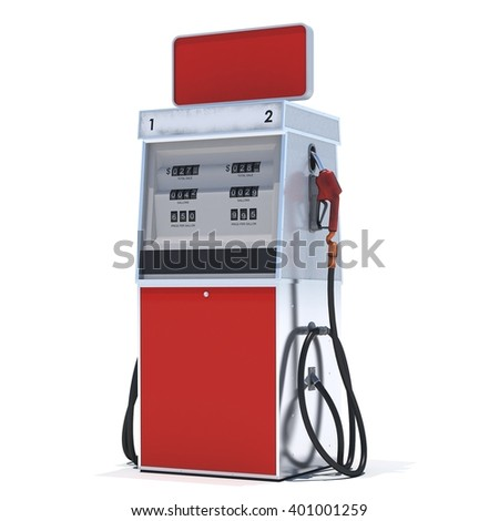Red gas pump on white background. 3d render. Isolated - stock photo