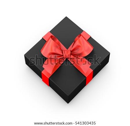 Red Black Gift Box Ribbon Top Stock Illustration 562253023 ...