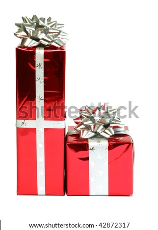 red gifts isolated on white background