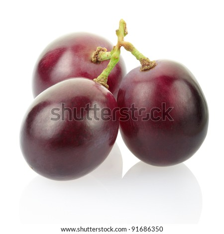 Red grape isolated on white, clipping path included - stock photo