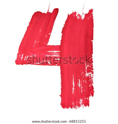 4 - Red handwritten digits over white background