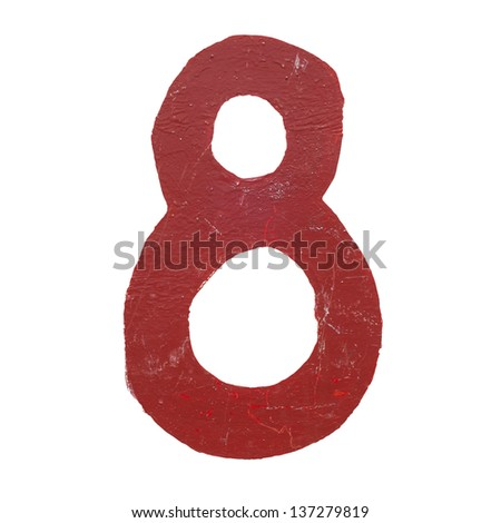 Red handwritten number eight isolated