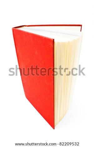 Red hardcover open book isolated on white - stock photo