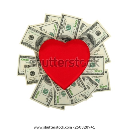 red heart and dolar .concept - the love of money - stock photo