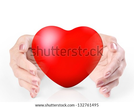 Red heart in a hands isolated