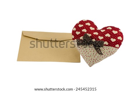 Red heart man with brown envelope, Valentine's day concept - stock photo