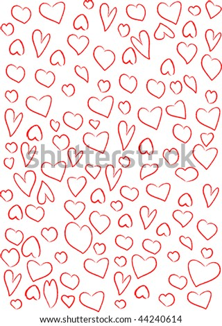 Red hearts background on white. - stock photo