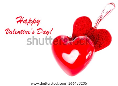 Red hearts isolated on a white background. Valentines Day background with Red Hearts.  Love  Love Beautiful concept  (with easy removable sample text).