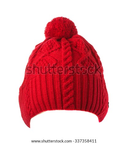 red knitted hat with pompom isolated on white background . - stock photo