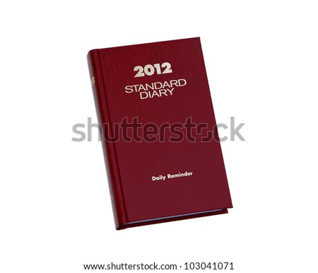 2012 red leather diary planner note book journal isolated on white background - stock photo