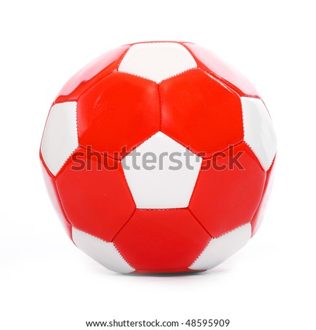 Red leather soccer ball isolated on white.