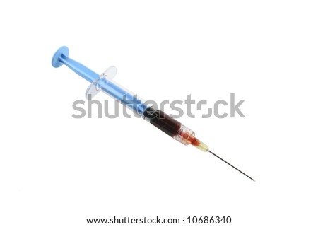 red liquid filled blue syringe with needle on a white background - stock photo