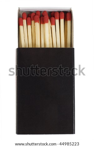 red matches in a black box isolated on a white background. - stock photo