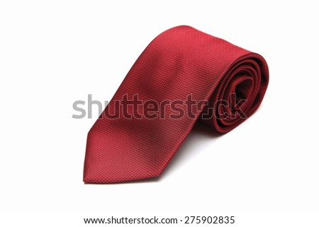 red neck tie isolated on white background