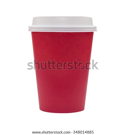 Red paper cup on a white background. Hot drinking cup. - stock photo