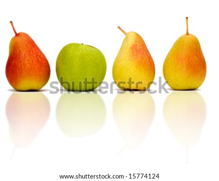 3 red pears in a line and one green  apple